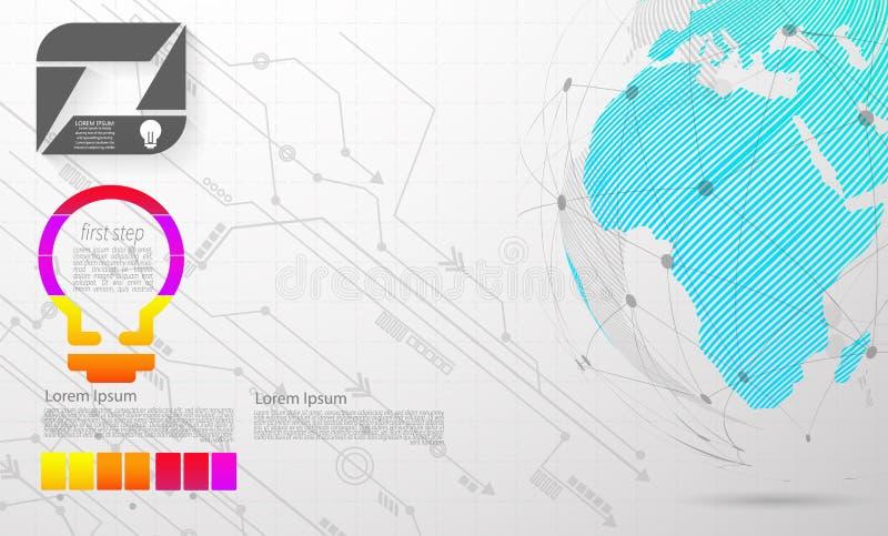 Infographic best?ndsdelar f?r modern abstrakt momentetikett f?r vektor kan anv?ndas f?r anslutning f?r globalt n?tverk V?rldskart vektor illustrationer