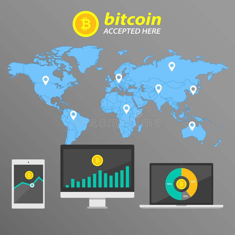 Infographic bitcoin på bakgrunden av världskartan stock illustrationer