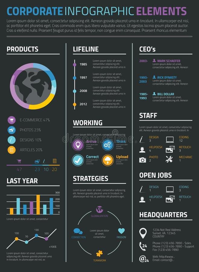 Infographic biznes i osobisty życiorysu cv na czarnym tle ilustracji