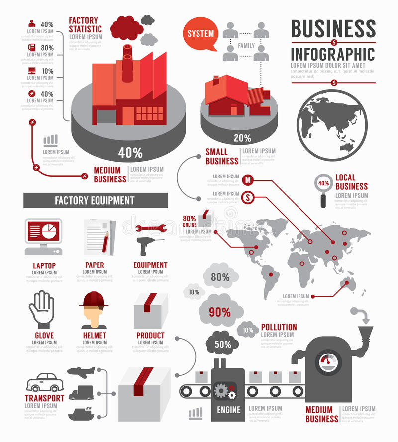 Infographic Biznesowego światowego przemysłu szablonu fabryczny projekt Co
