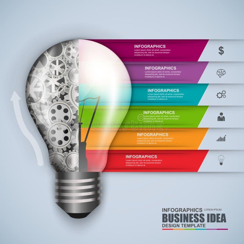 Infographic biznesowej żarówki projekta wektorowy szablon ilustracja wektor