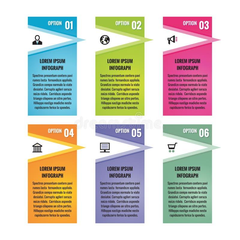 Infographic biznesowy pojęcie - barwioni pionowo wektorowi sztandary Infographic Szablon cztery elementy projektu tła snowfiake b royalty ilustracja