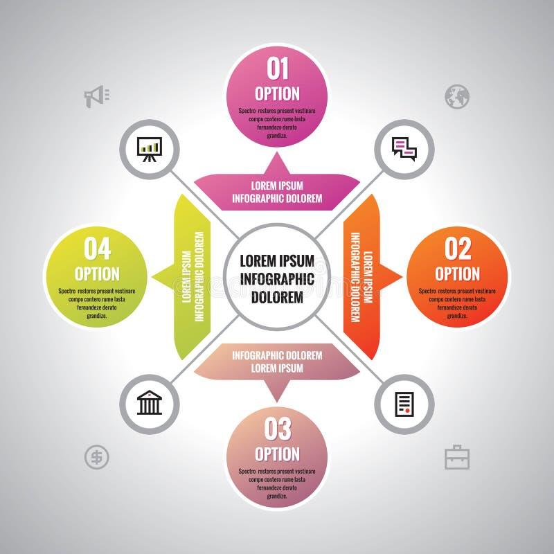 Infographic biznesowy pojęcie - kreatywnie wektorowy układ z ikonami dla prezentaci, broszurka, strona internetowa Infographic we ilustracja wektor