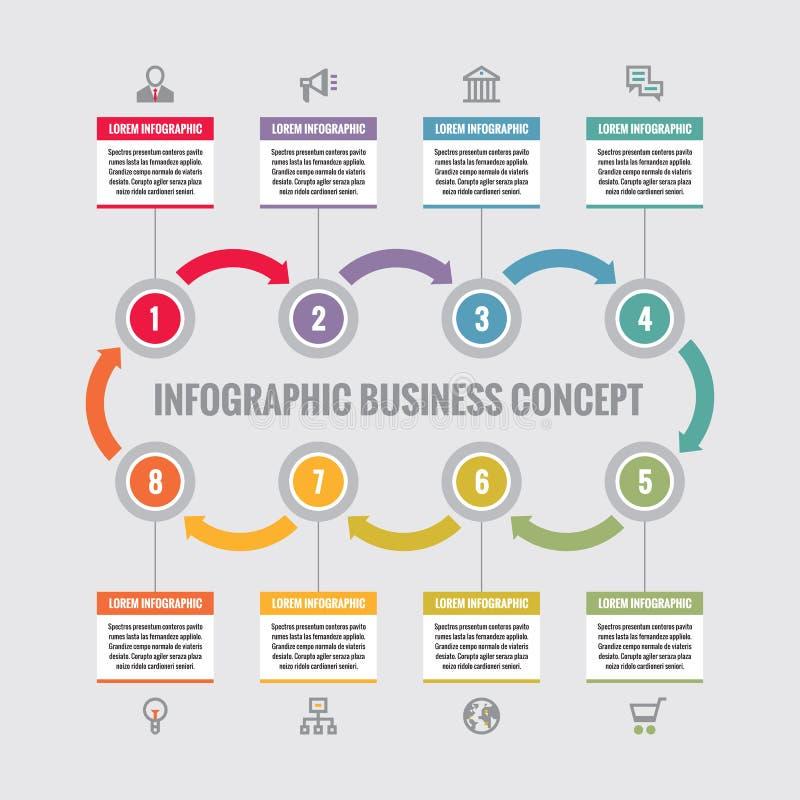 Infographic biznesowy pojęcie - kreatywnie wektorowy układ z ikonami Okręgi i strzała Cykl infographic Projekta infographics ilustracji