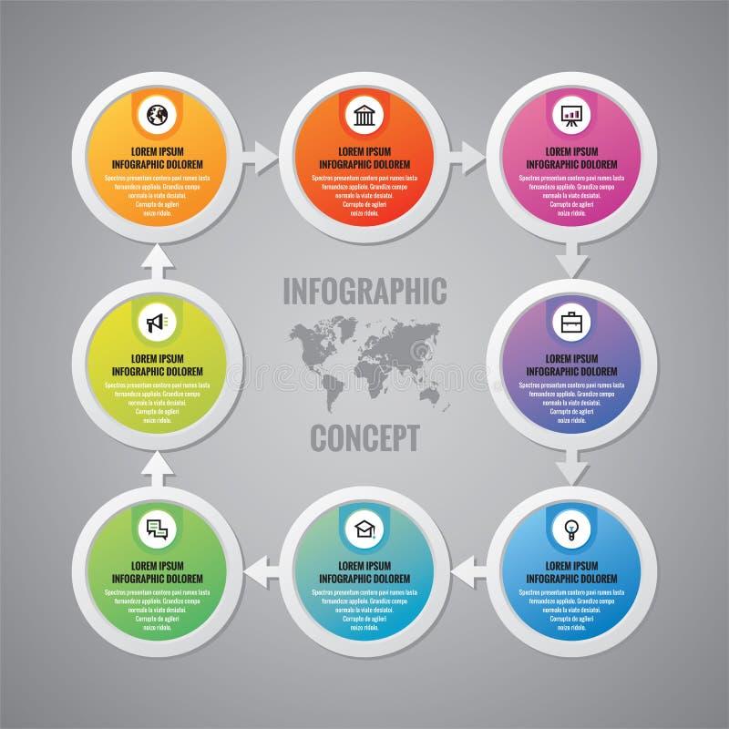 Infographic biznesowy pojęcie - wektorowy układ Okręgi, strzała, ikony i światowa mapa, Infographics projekta elementy ilustracji
