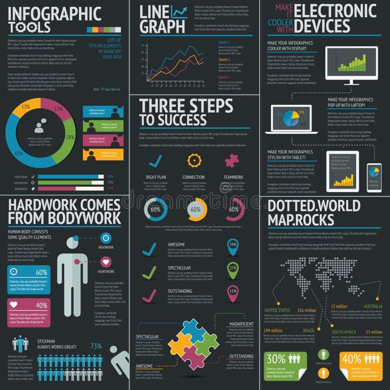 Infographic biznesowy wektorowy szablon ustawiający na czarnym tle ilustracja wektor