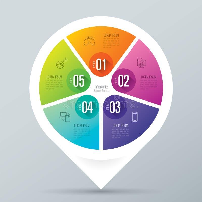 Infographic biznesu i projekta ikony z 5 opcjami royalty ilustracja