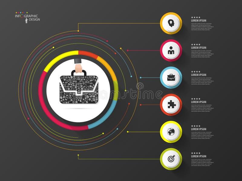Infographic Bolso del negocio Círculo colorido con los iconos Vector libre illustration