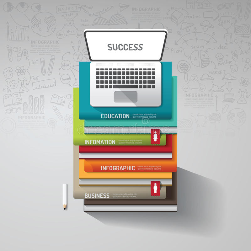 Infographic books step with doodles line drawing and notebook royalty free illustration