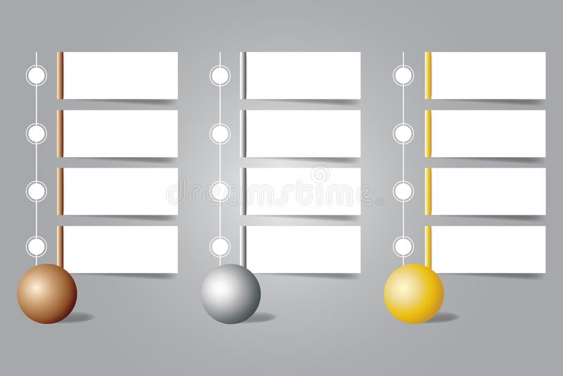 Infographic brązu, srebra i złota piłki z pustymi etykietkami, ilustracja wektor
