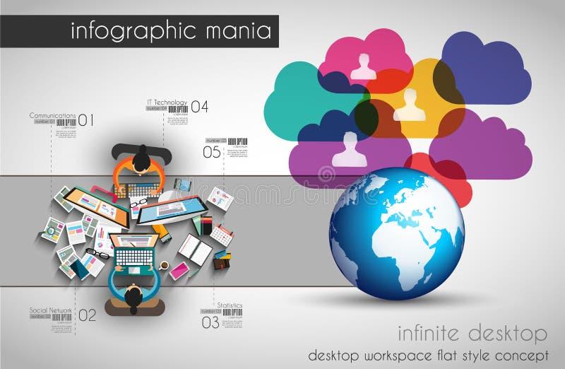 Infographic brainstorming z mieszkanie stylem i praca zespołowa royalty ilustracja