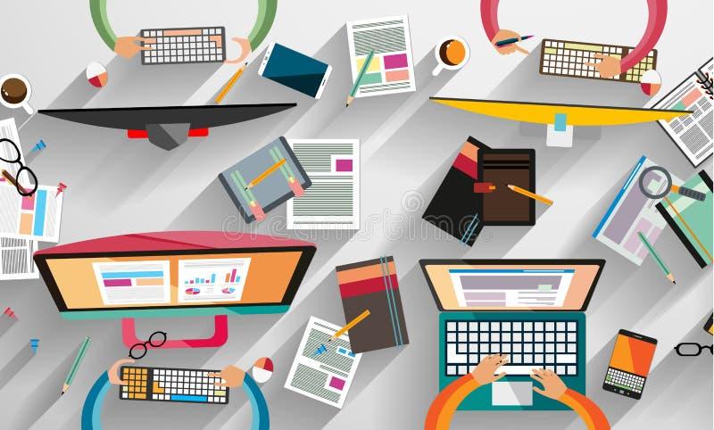 Infographic brainstorming z mieszkanie stylem i praca zespołowa ilustracja wektor