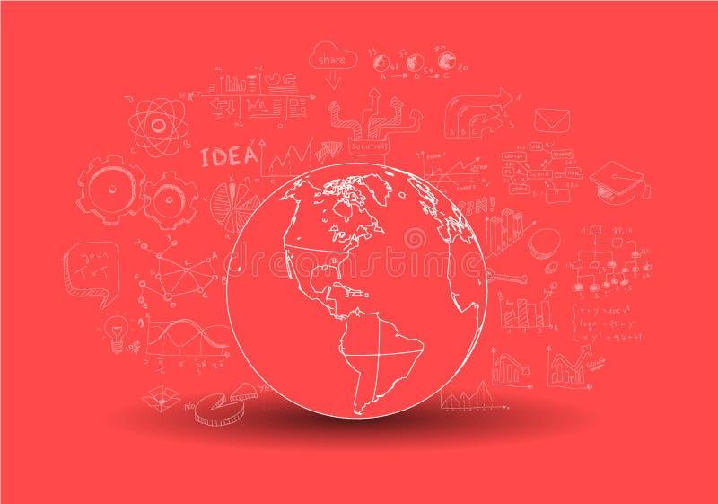 Infographic brainstorming z nakreśleniami i praca zespołowa ilustracji