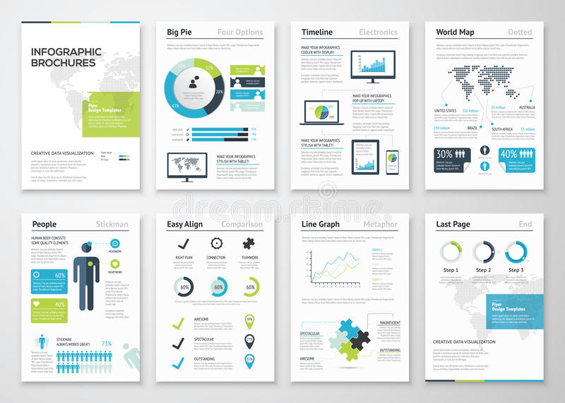 Infographic-Broschüren für Sichtbarmachung der kommerziellen Daten lizenzfreie abbildung