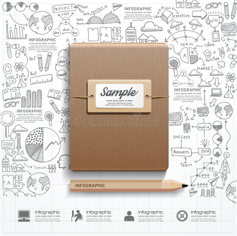 Infographic-Buch mit Gekritzel Federzeichnungserfolgsstrategie stock abbildung
