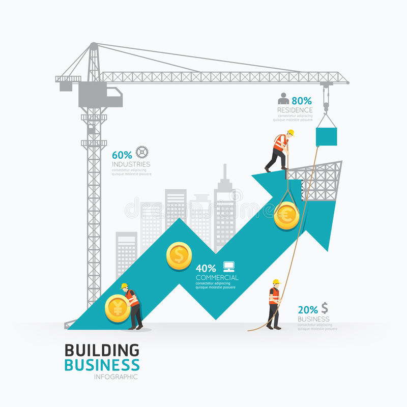 Infographic business arrow shape template design.building. To success concept vector illustration / graphic or web design layout