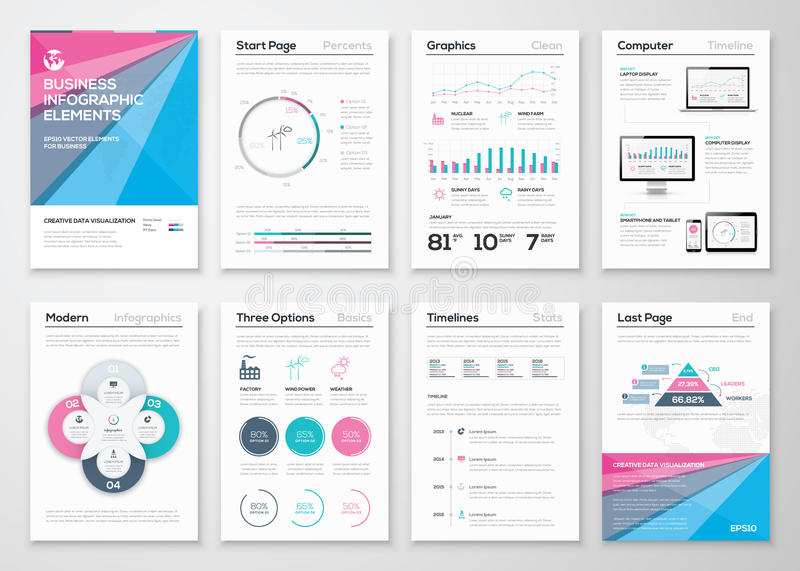 Infographic business brochure templates for data visualization. Eps10