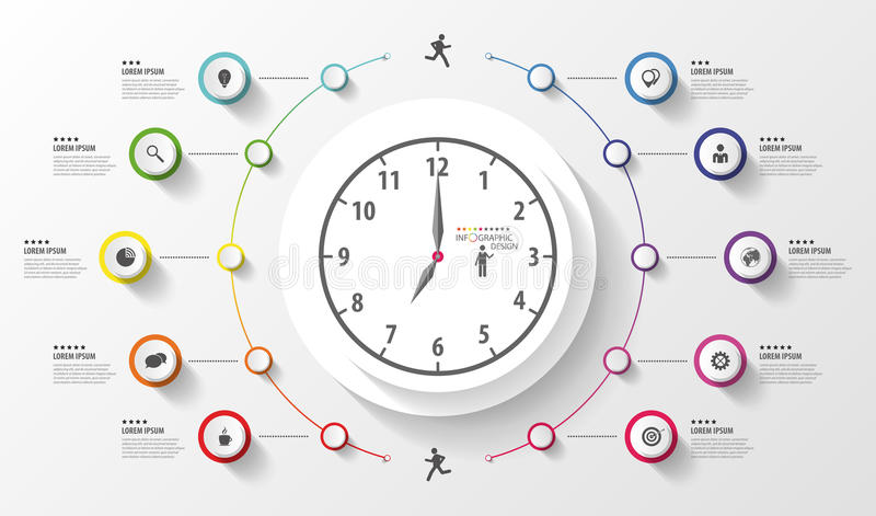 Infographic. Business Clock. Colorful circle with icons. Vector stock illustration