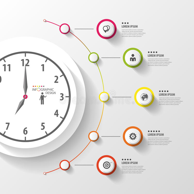 Infographic. Business Clock. Colorful circle with icons. Vector royalty free illustration
