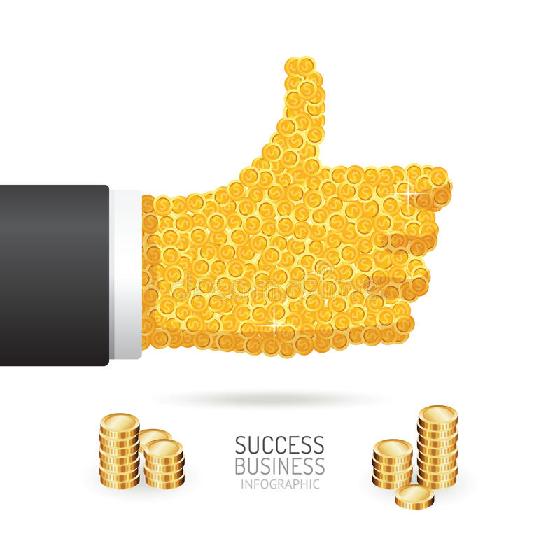 Infographic business coins good sign hand shape template design. vector illustration