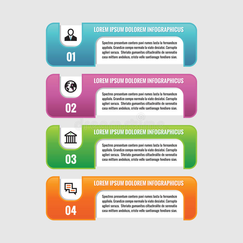 Infographic business concept - colored horizontal vector banners. Numbered options. Infographic template. stock illustration