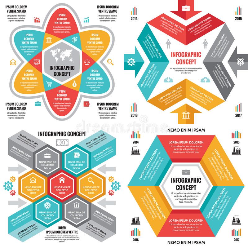 Infographic business concept vector layouts in flat style design for presentation, brochure, website and other creative projects. Infographic design elements stock illustration