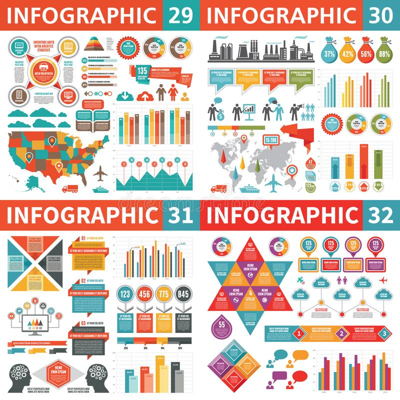 Infographic business design elements - vector illustration. Infograph template collection. World and USA maps. Industrial factory royalty free illustration