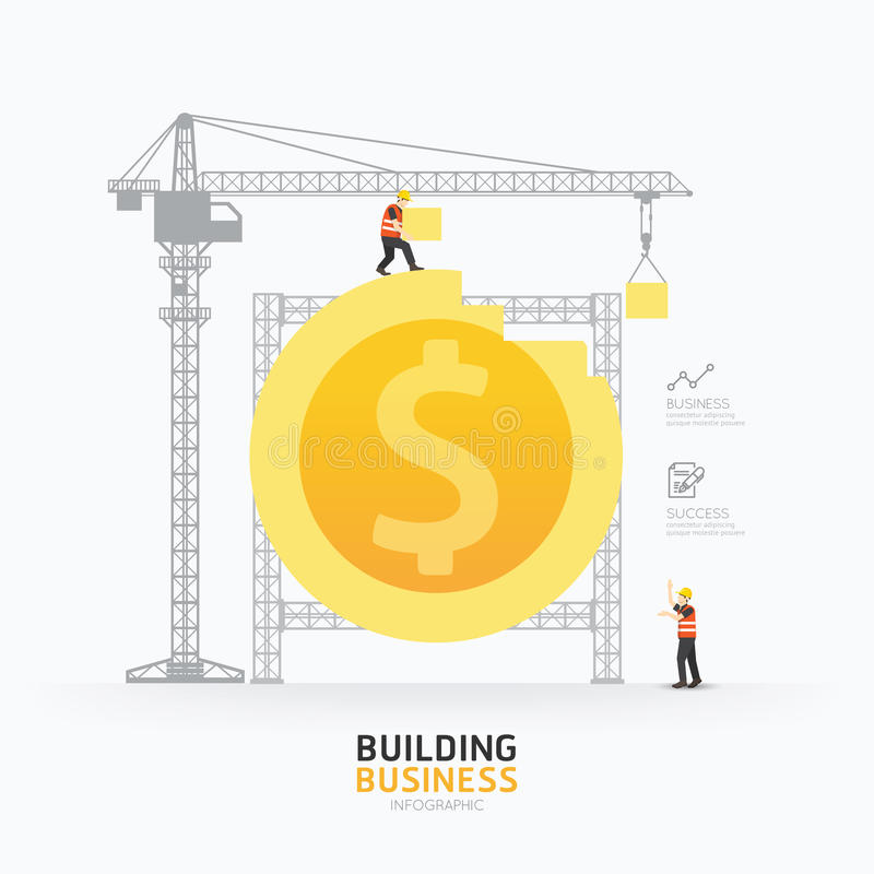 Infographic business dollar coin shape template design.building vector illustration