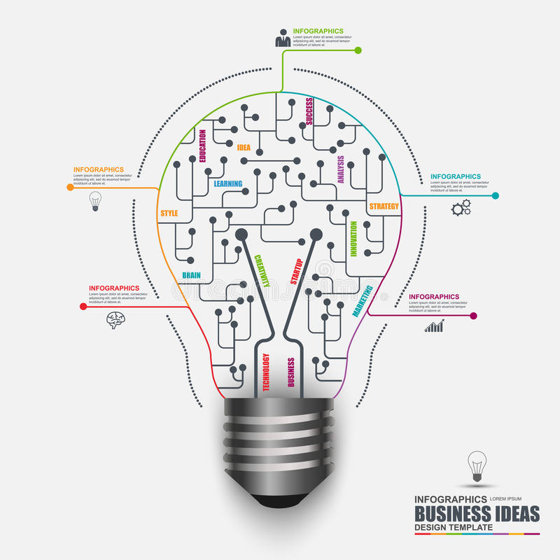 Infographic business light bulb vector design template stock illustration
