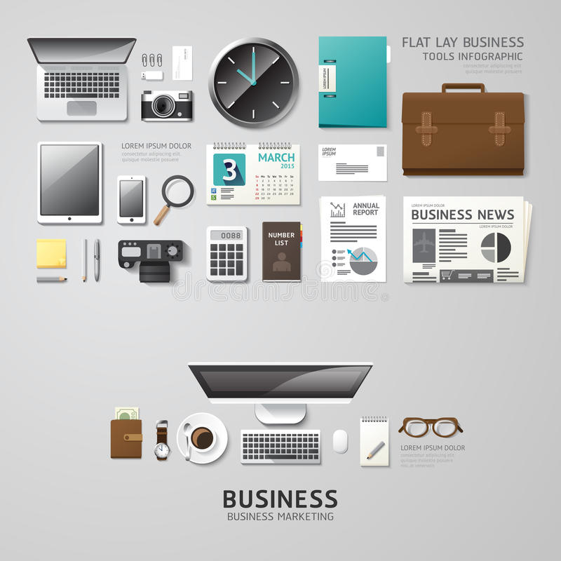 Infographic business office tools flat lay idea. Vector illustration hipster concept. can be used for layout, advertising and web design stock illustration