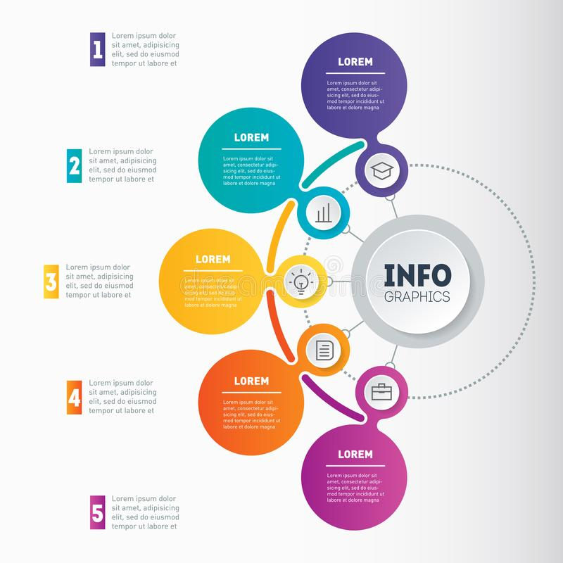 Infographic or Business presentation with 5 options. Web Template of a chart, mindmap or diagram with 5 steps. Vector dynamic inf. Ographics or mind map of vector illustration