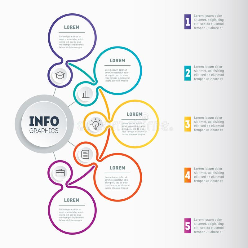 Infographic or Business presentation with 5 options. Web Template of a chart, mindmap or diagram with five steps. Vector dynamic. Infographics or mind map of royalty free illustration