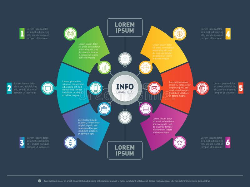 PrinInfographic or Business presentation with 6 options. Web Template of a chart, mindmap or circle diagram. Vector. Infographic or Business presentation with 6 vector illustration