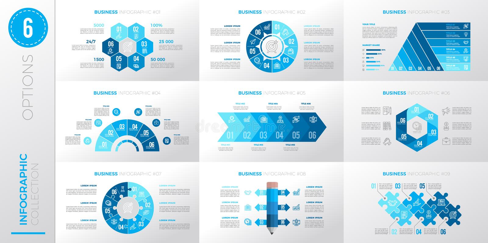 Infographic business template with 6 options. Blue color version vector illustration