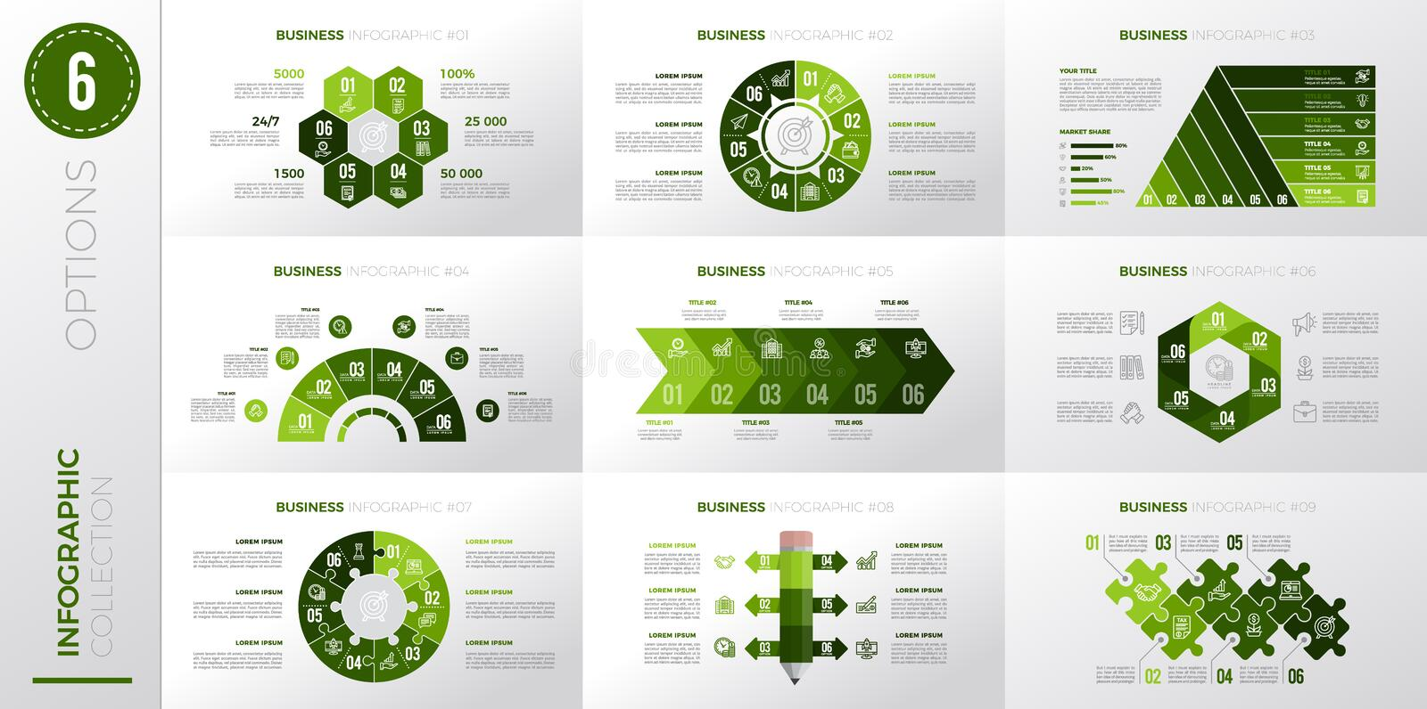Infographic business template with 6 options. Green color version royalty free illustration