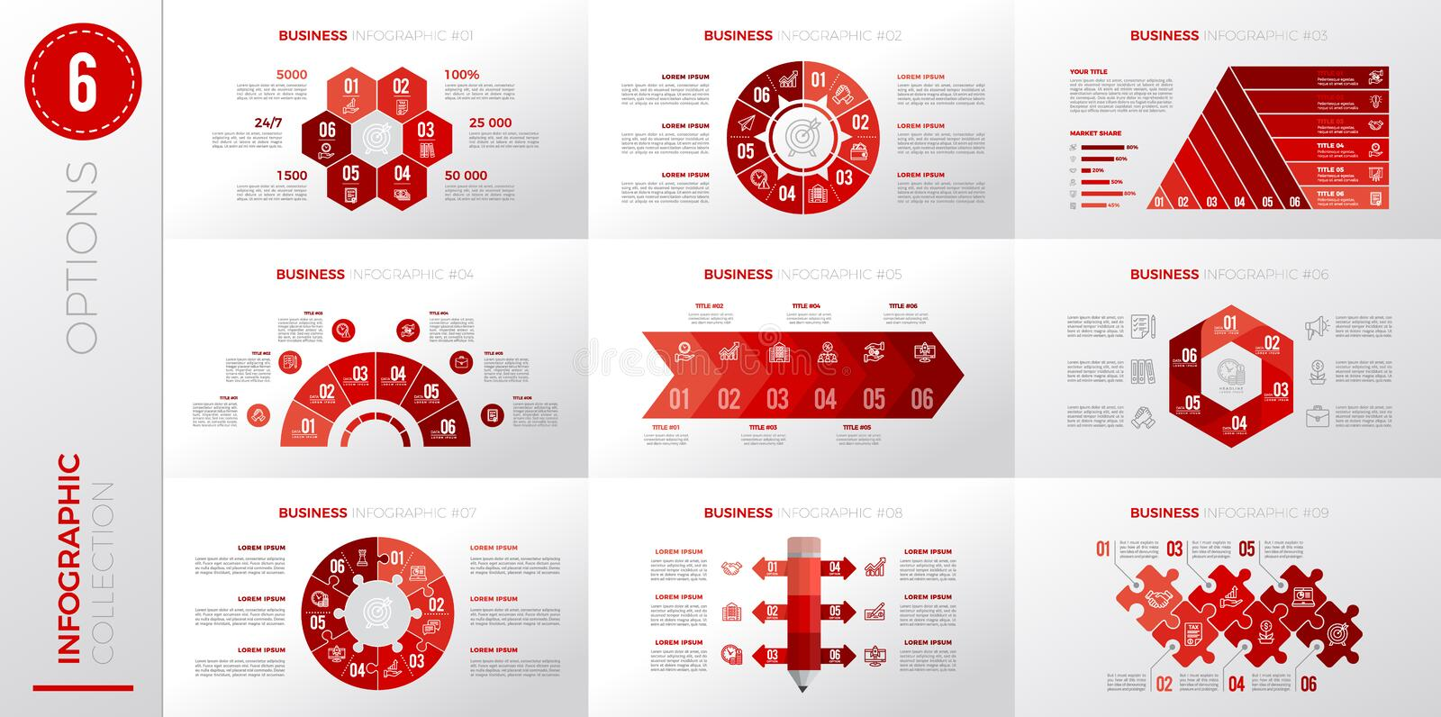 Infographic business template with 6 options. Red color version vector illustration