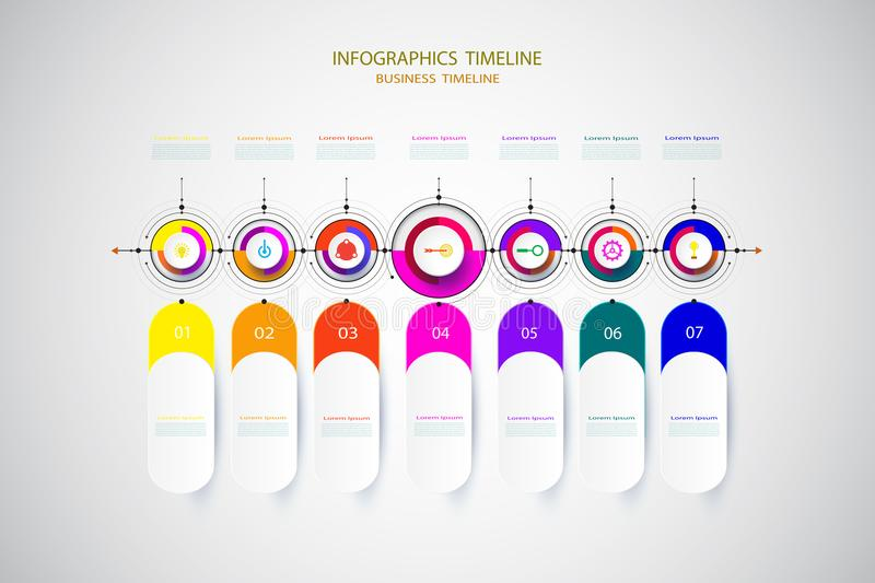 Infographic business template timeline technology element with 3 royalty free stock images