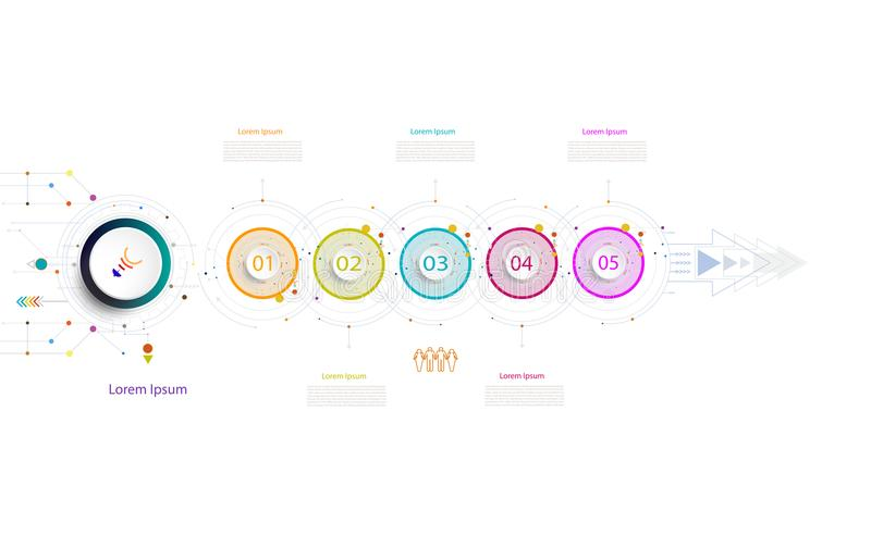 Infographic business template timeline technology element with 3. Infographic business template timeline technology element,Integrated circles. Business concept royalty free illustration