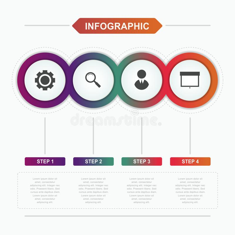 Infographic business template, vector circles step design with icon for annual report, workflow and presentation. royalty free illustration