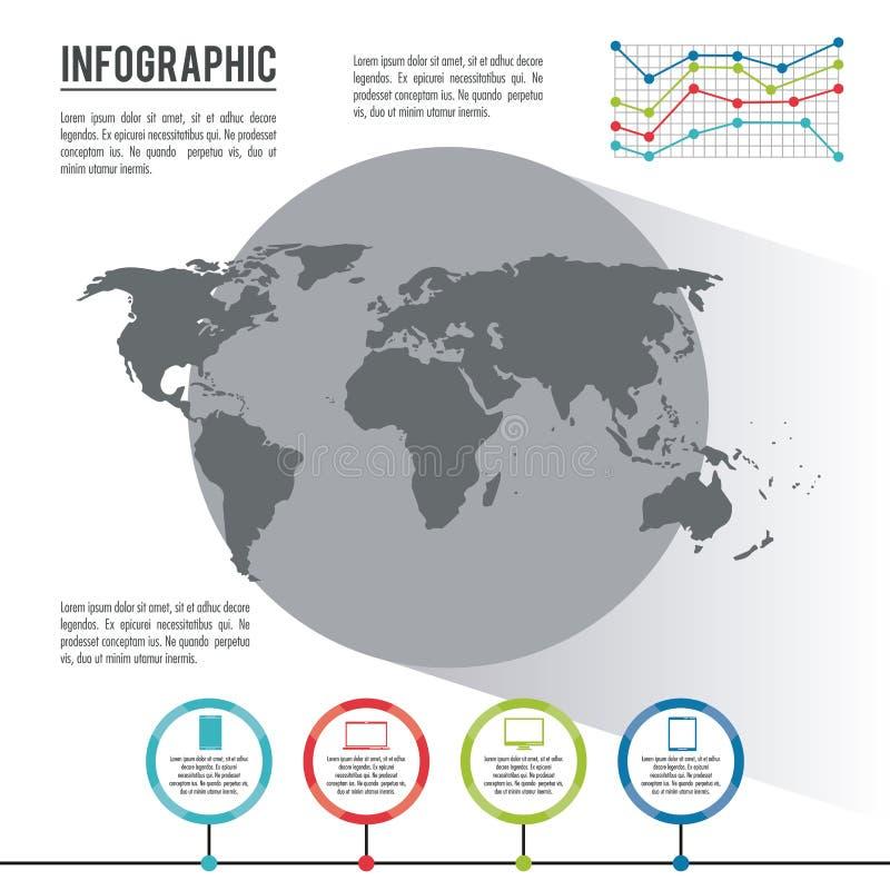 Infographic cały świat royalty ilustracja