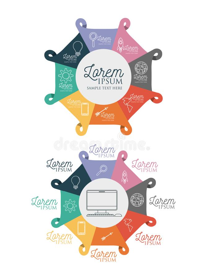 Infographic with central hexagons and desktop computer in center and icons around on him. Vector illustration royalty free illustration
