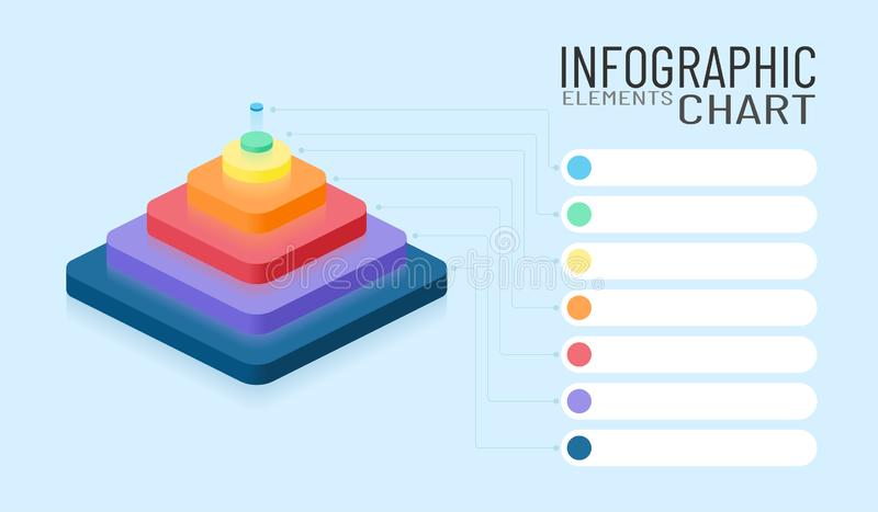Infographic chart elements. Isometric business 3d colored pyramid with place for decryption. Vector company graphic illustration. vector illustration
