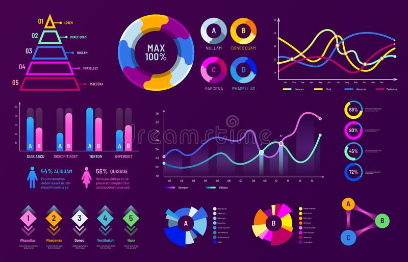Infographic chart graphics. Diagram charts, data analysis graphs and statistics percentage charts vector illustration. Infographic chart graphics. Diagram charts vector illustration