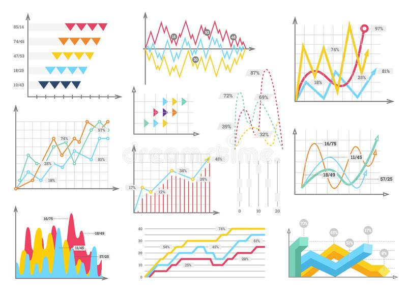Infographic charts elements - bar and line charts, percents, pie charts, steps, options, timeline, people infographics royalty free illustration