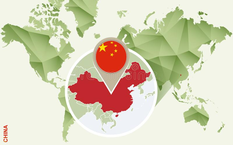Infographic for China, detailed map of China with flag stock illustration