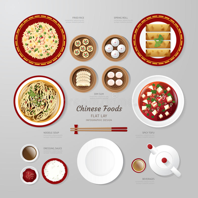 Infographic China foods business flat lay idea. Vector illustrat. Ion hipster concept. can be used for layout, advertising and web design vector illustration