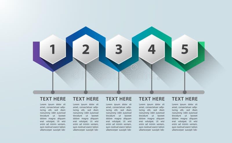 Infographic cinq conception hexagonale de processus de 5 étapes illustration stock