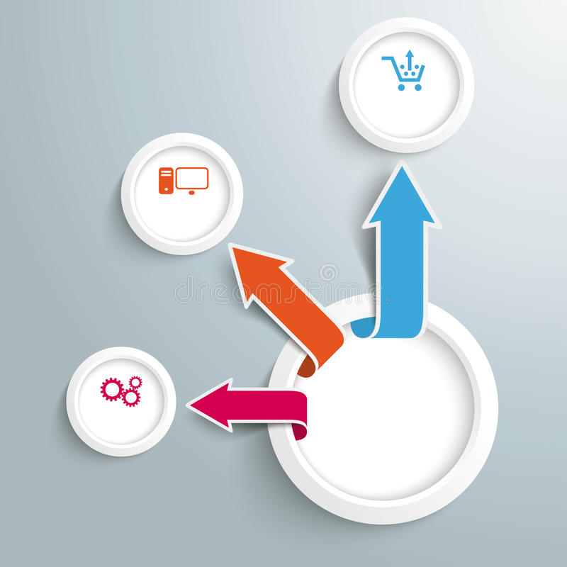 Infographic Circle Arrows Growth 3 Options. Infographic design on the grey background stock illustration