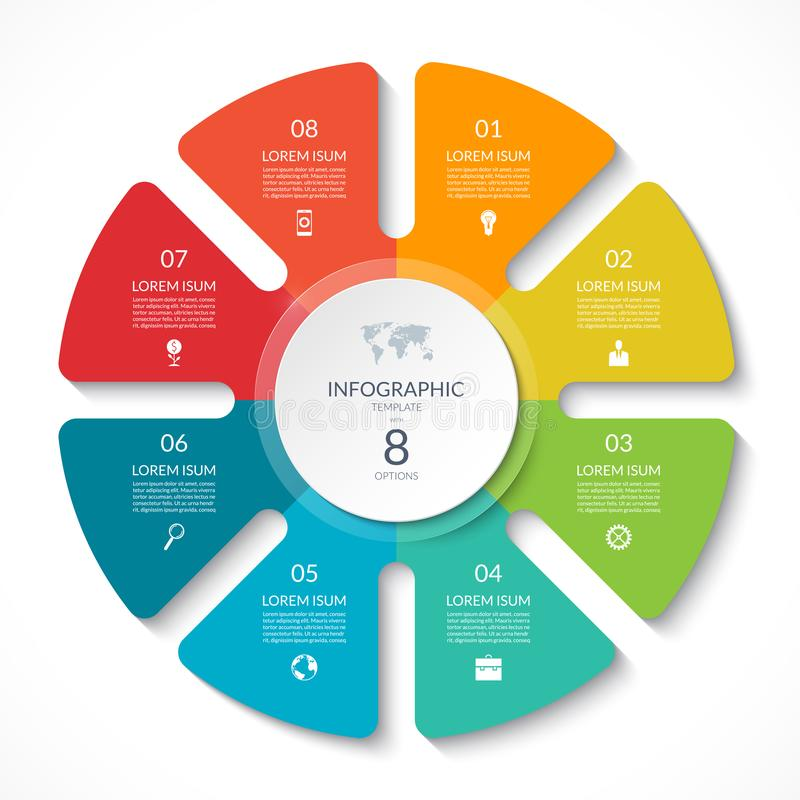 Infographic circle chart. Vector cycle diagram with 8 options. Can be used for graph, presentation, report, step options, web design vector illustration