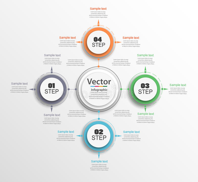 Infographic circle diagram. Vector banner with 4 steps, parts, options. Template for business infographics stock illustration